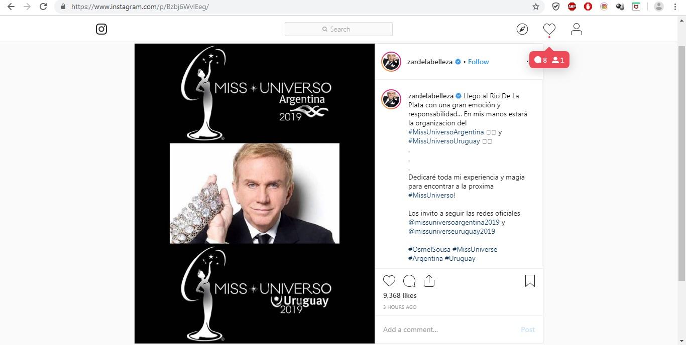 Osmel Sousa asume la Dirección de Miss Argetina y Miss Uruguay 8wl9c4fh